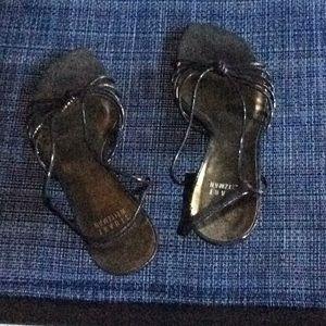Black metallic 2 1/4 in heel sandals